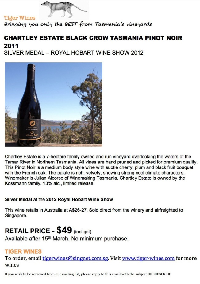 Chartley Estate Black Crow 2011