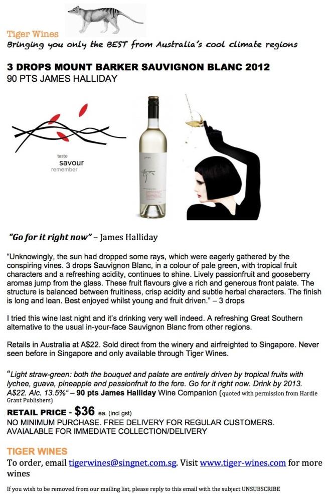 2012 3 drops Sauvignon Blanc