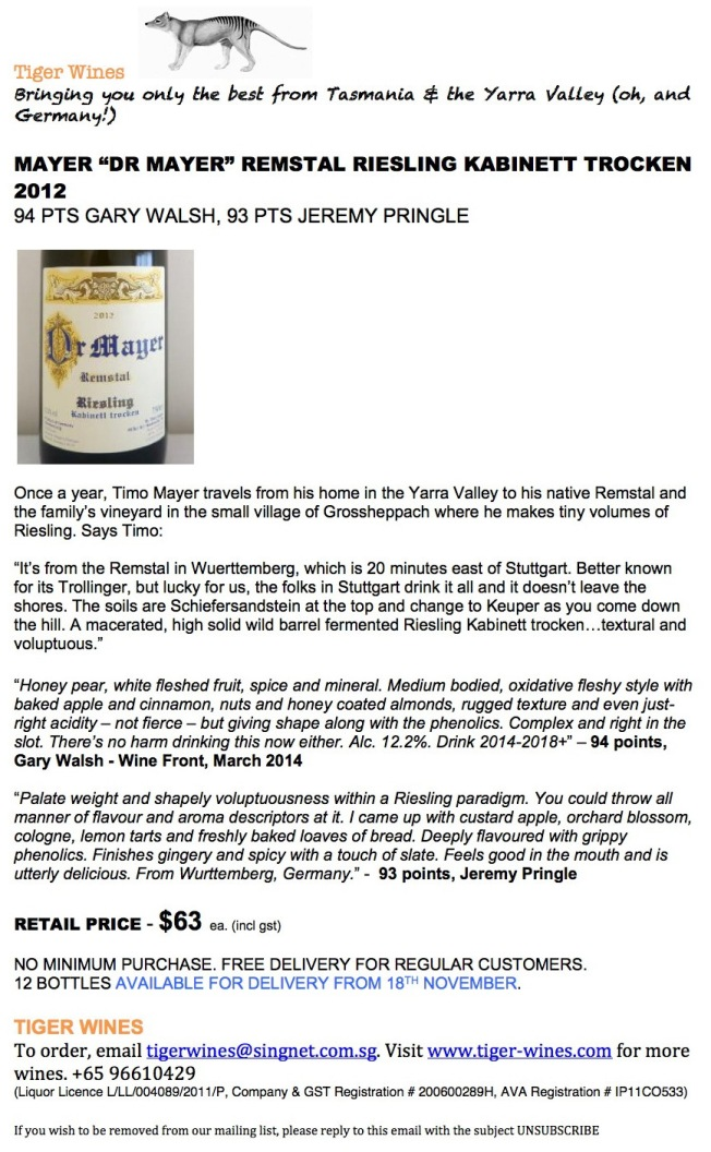 2012 Mayer Dr Mayer Riesling
