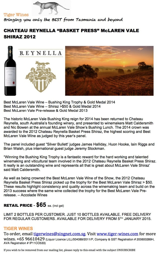 2012 Chateau Reynella Basket Press