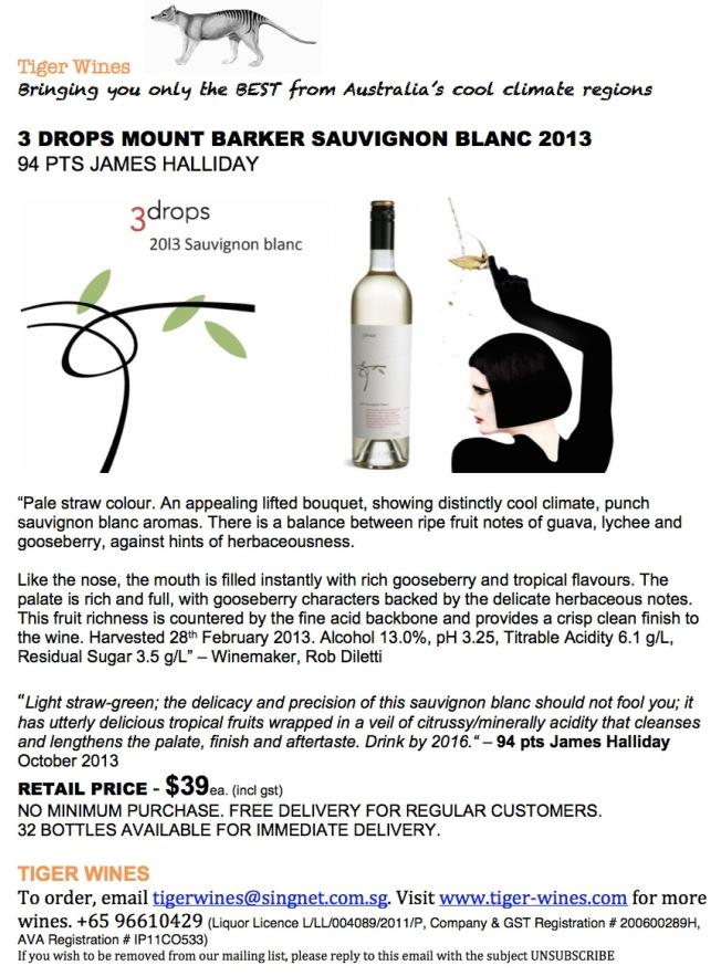 2013 3 Drops Sauvignon Blanc