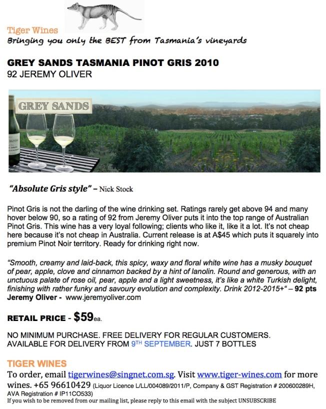 2010 Grey Sands Pinot Gris