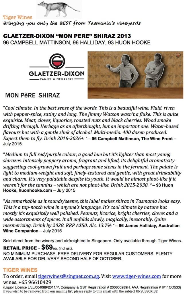 2013 Glaetzer-Dixon Mon Pere Shiraz