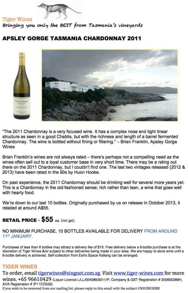 2011 Apsley Gorge Chardonnay