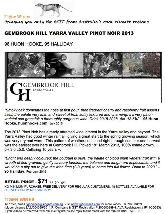 2013 Gembrook Hill Pinot Noir
