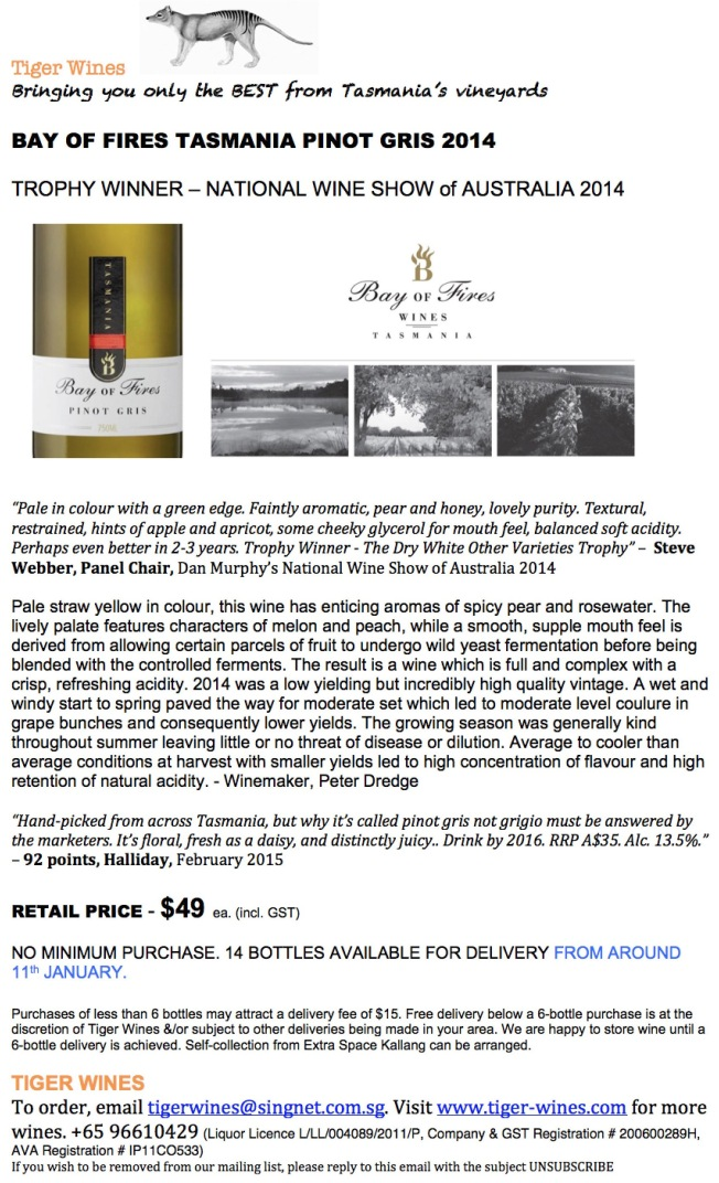 2014 Bay of Fires Pinot Gris