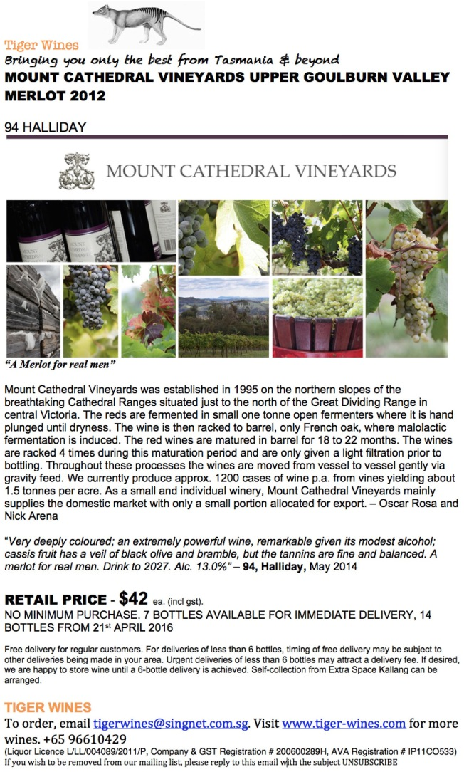 2012 Mount Cathedral Merlot