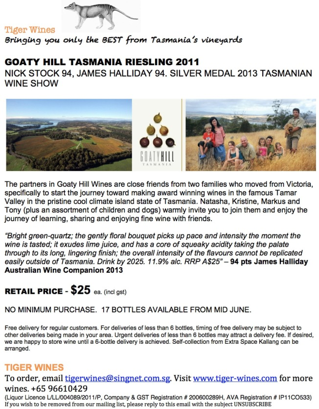 2011 Goaty Hill Tasmania Riesling